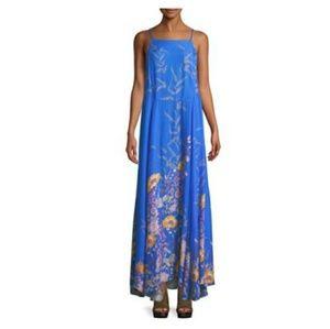 NWT FREE PEOPLE BLUE FLORAL LOW BACK DRESS L